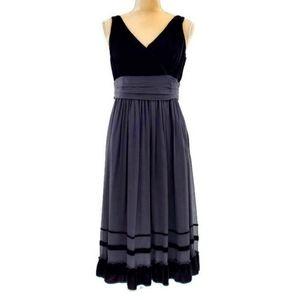Talbots Black Silk Chiffon & Velvet Cocktail Dress